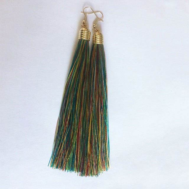 Vintage Long Tassel Geometric Alloy Plating Dangle Drop Earrings-Dee SuSu-Multicolor-Dee SuSu