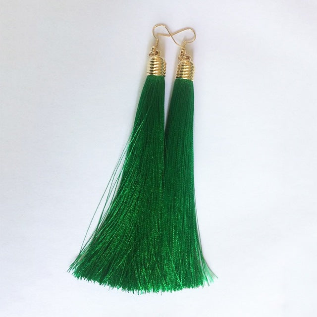 Vintage Long Tassel Geometric Alloy Plating Dangle Drop Earrings-Dee SuSu-Green-Dee SuSu