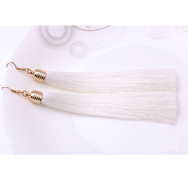 Vintage Long Tassel Geometric Alloy Plating Dangle Drop Earrings-Dee SuSu-White-Dee SuSu