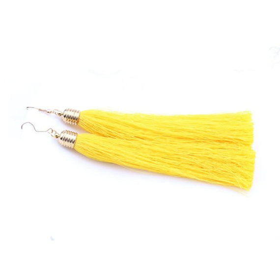 Vintage Long Tassel Geometric Alloy Plating Dangle Drop Earrings-Dee SuSu-Yellow-Dee SuSu