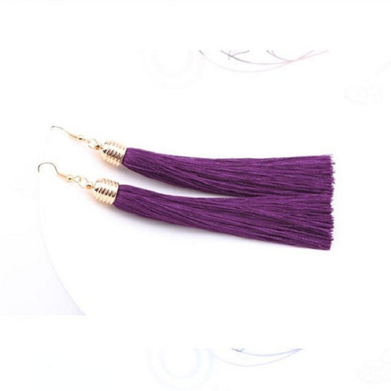Vintage Long Tassel Geometric Alloy Plating Dangle Drop Earrings-Dee SuSu-Purple-Dee SuSu
