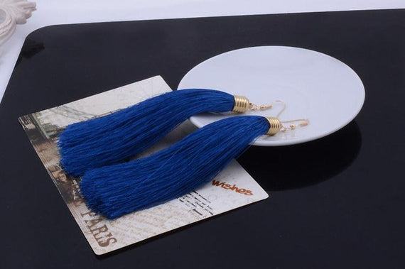 Vintage Long Tassel Geometric Alloy Plating Dangle Drop Earrings-Dee SuSu-Nary Blue-Dee SuSu