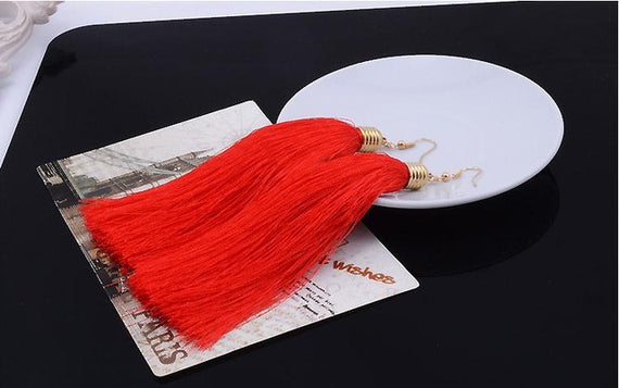 Vintage Long Tassel Geometric Alloy Plating Dangle Drop Earrings-Dee SuSu-Red-Dee SuSu