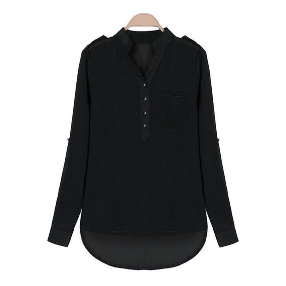 Split Neck Tunic Blouse-Dee SuSu-Black-S-Dee SuSu