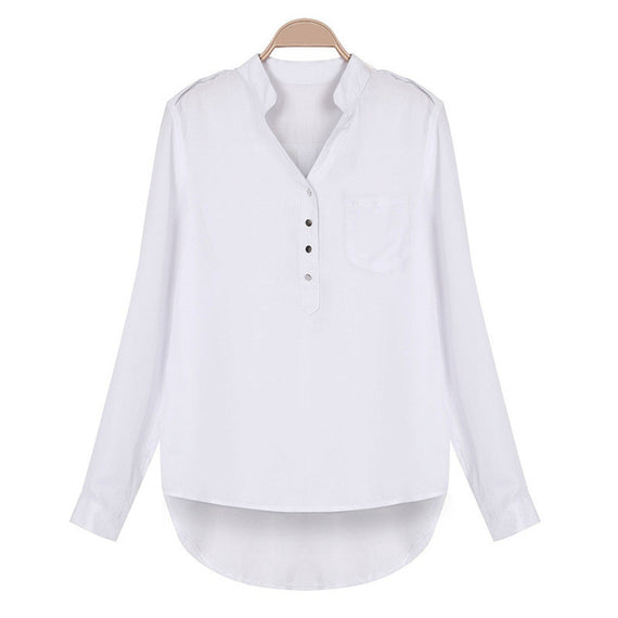Split Neck Tunic Blouse-Dee SuSu-White-S-Dee SuSu