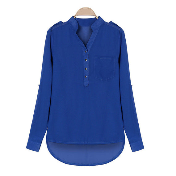Split Neck Tunic Blouse-Dee SuSu-Blue-S-Dee SuSu