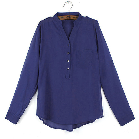 Split Neck Tunic Blouse-Dee SuSu-Navy-S-Dee SuSu