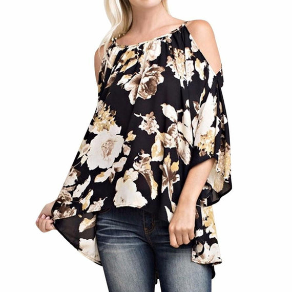 Floral Print 3/4 Sleeve Off Shoulder Loose Casual Swing Blouse