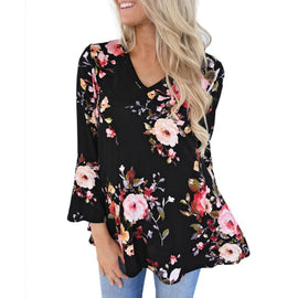 Autumn Casual Floral Printing Long Flare Sleeve Blouse