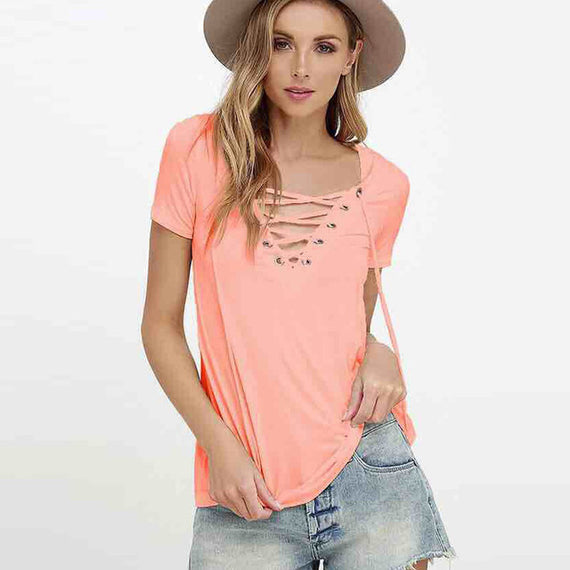Sexy V-Neck Lace Up Tee-Dee SuSu-pink-S-Dee SuSu