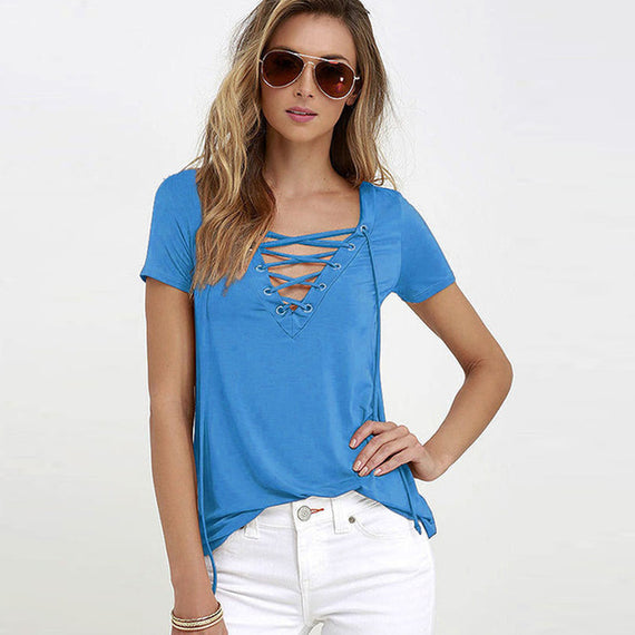 Sexy V-Neck Lace Up Tee-Dee SuSu-sky blue-S-Dee SuSu