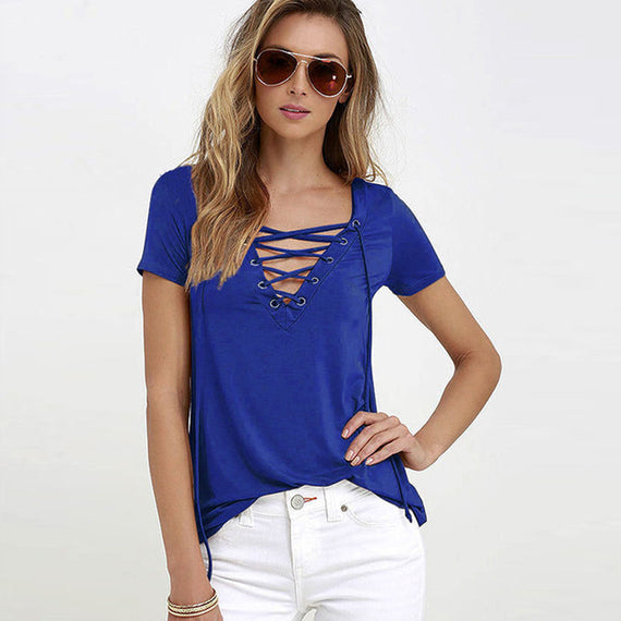 Sexy V-Neck Lace Up Tee-Dee SuSu-blue-S-Dee SuSu