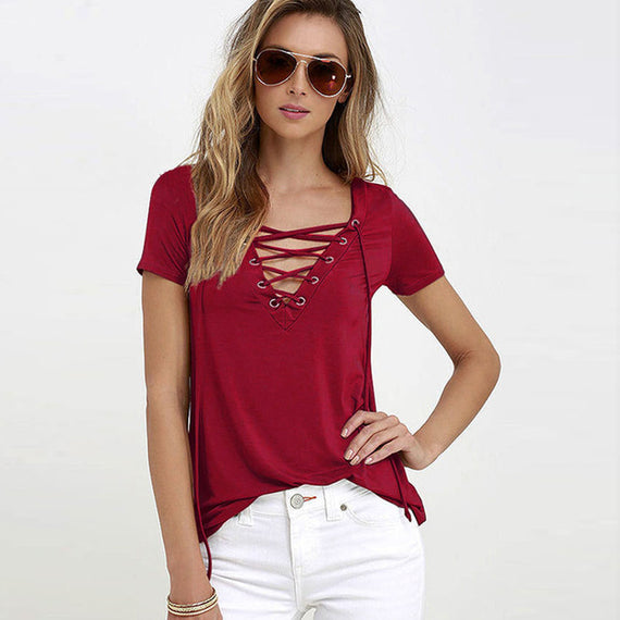 Sexy V-Neck Lace Up Tee-Dee SuSu-wine red-S-Dee SuSu