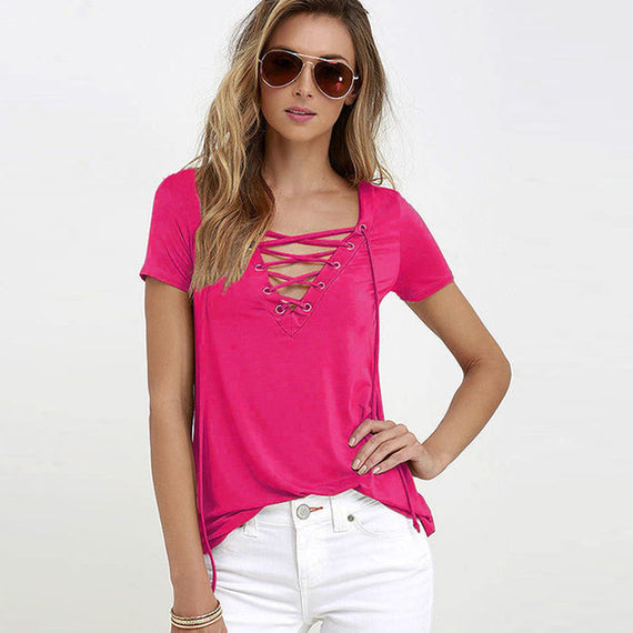 Sexy V-Neck Lace Up Tee-Dee SuSu-bright pink-S-Dee SuSu