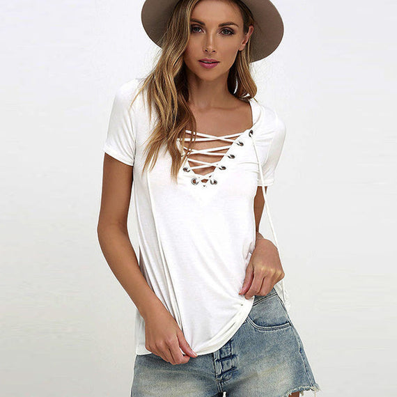 Sexy V-Neck Lace Up Tee-Dee SuSu-white-S-Dee SuSu