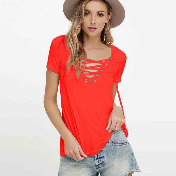Sexy V-Neck Lace Up Tee-Dee SuSu-orange-S-Dee SuSu