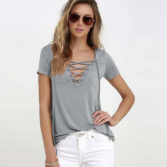 Sexy V-Neck Lace Up Tee-Dee SuSu-gray-S-Dee SuSu