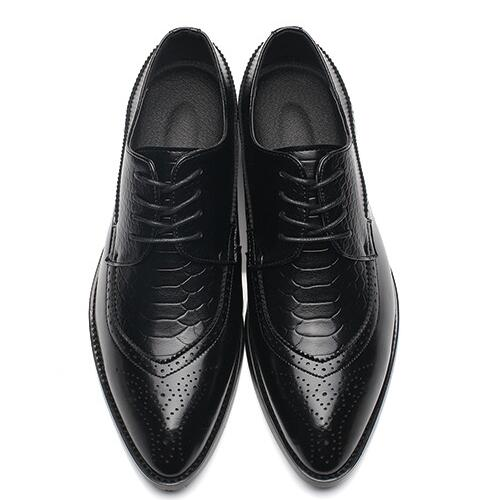 Pointed Toe Lace Up Bullock Oxfords Leather Shoes-Dee SuSu-Black-6-Dee SuSu
