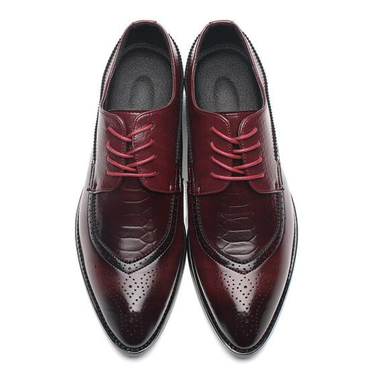 Comfortable Laced Up Pointed Toe Leather Dress Shoes-Dee SuSu-Red-6-Dee SuSu