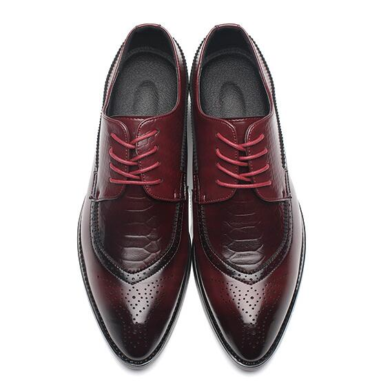 Pointed Toe Lace Up Bullock Oxfords Leather Shoes-Dee SuSu-Red-6-Dee SuSu