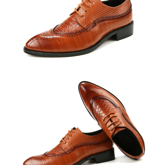 Pointed Toe Lace Up Bullock Oxfords Leather Shoes-Dee SuSu-Dee SuSu