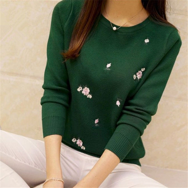 Floral Embroidered Pullover-Dee SuSu-green-One Size-Dee SuSu