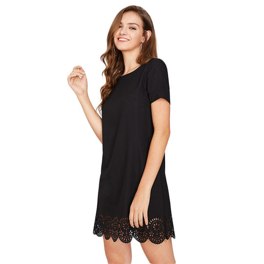 Little Black Dress with Scallop Hem Detail-Dee SuSu-Black-XS-Dee SuSu