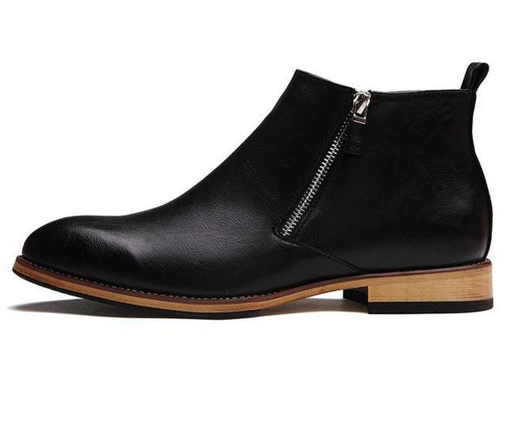 Oxford Cow Split Leather Zipper Ankle Boots-Dee SuSu-black-6.5-Dee SuSu