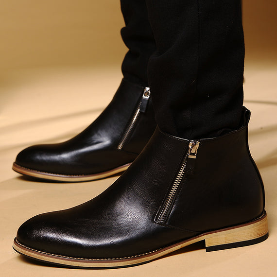 Oxford Cow Split Leather Zipper Ankle Boots-Dee SuSu-Dee SuSu