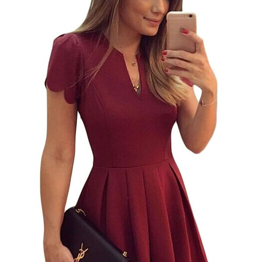 Short Sleeve Skater Party Dress-Dee SuSu-Burgundy-L-Dee SuSu