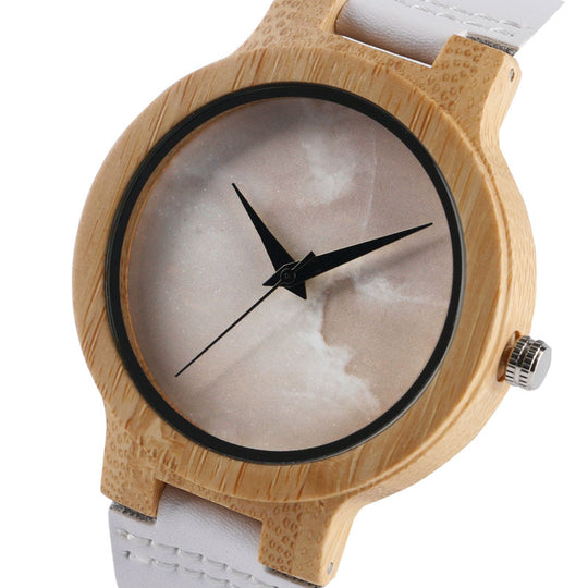Unique White Strap Genuine Leather Handmade Wooden Watch for Men-Dee SuSu-Dee SuSu