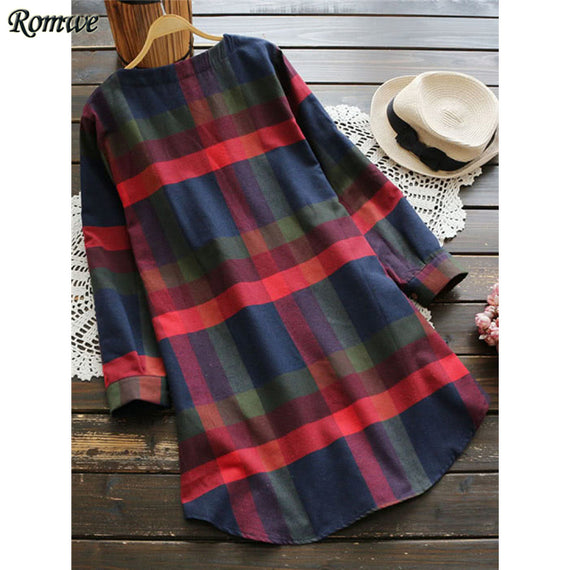 Casual Plaid Fall Tunic Dress-Dee SuSu-Dee SuSu