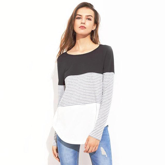 Striped Cut And Sew Curved Hem Round Neck Long Sleeve Tee Shirt-Dee SuSu-Multi-S-Dee SuSu