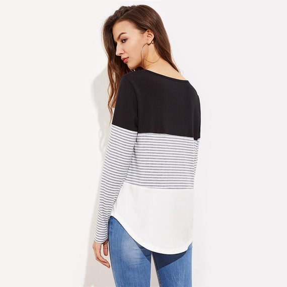 Striped Cut And Sew Curved Hem Round Neck Long Sleeve Tee Shirt-Dee SuSu-Dee SuSu