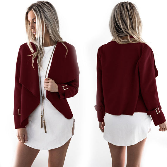 Shawl Collar Jacket-Dee SuSu-Wine-S-Dee SuSu