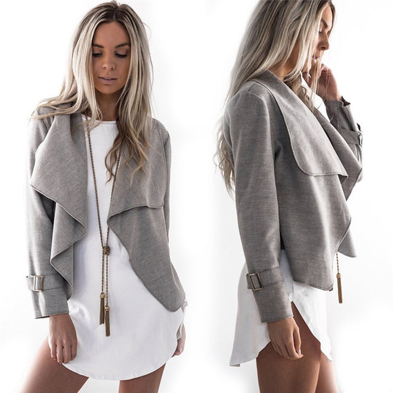 Shawl Collar Jacket-Dee SuSu-Grey-S-Dee SuSu