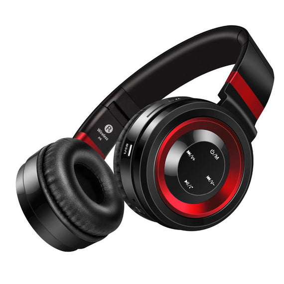 Bluetooth Wireless Headphones with TF Card FM Radio Support-Dee SuSu-Black Red-China-Dee SuSu
