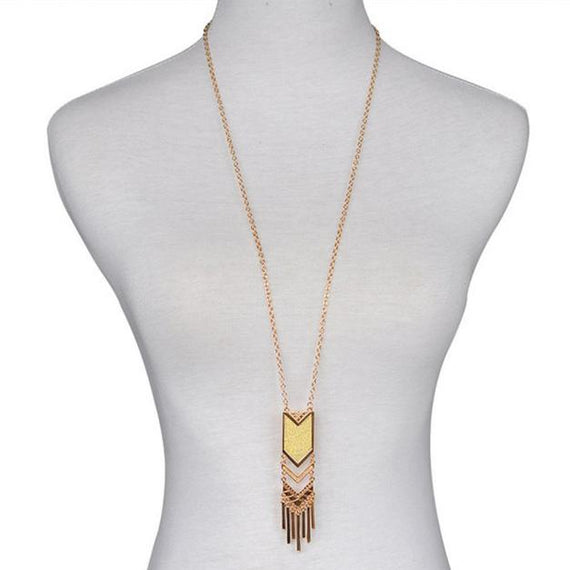 Chevron Tassel Necklace-Dee SuSu-Antique Gold Plated-Dee SuSu