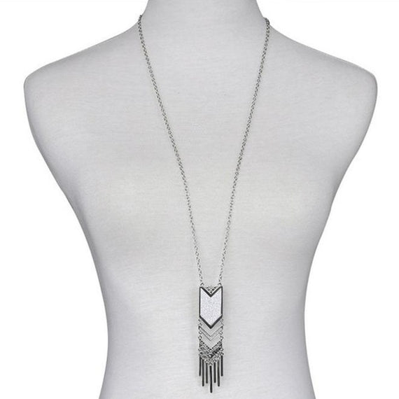 Chevron Tassel Necklace-Dee SuSu-Antique Silver Plated-Dee SuSu