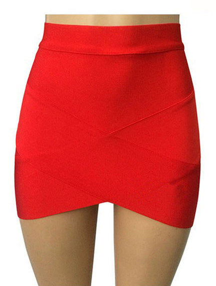 Short Elastic Rayon Mini Slim Tight Skirt-Dee SuSu-red-XS-Dee SuSu
