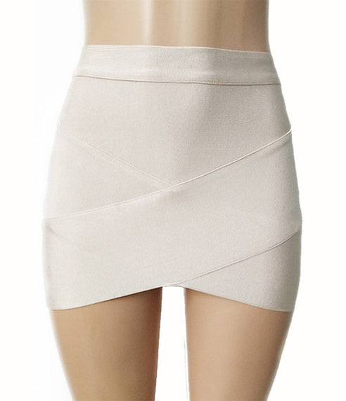 Short Elastic Rayon Mini Slim Tight Skirt-Dee SuSu-khaki-XS-Dee SuSu
