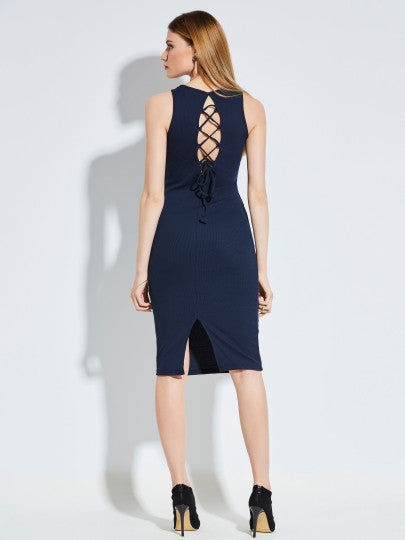 Backless Lace-Up Bodycon Dress-Dee SuSu-Dee SuSu