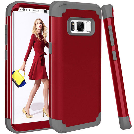 Shockproof Full Body Protective Cover Phone Cases For Samsung-Dee SuSu-Red and Gray-For Galaxy S8-Dee SuSu