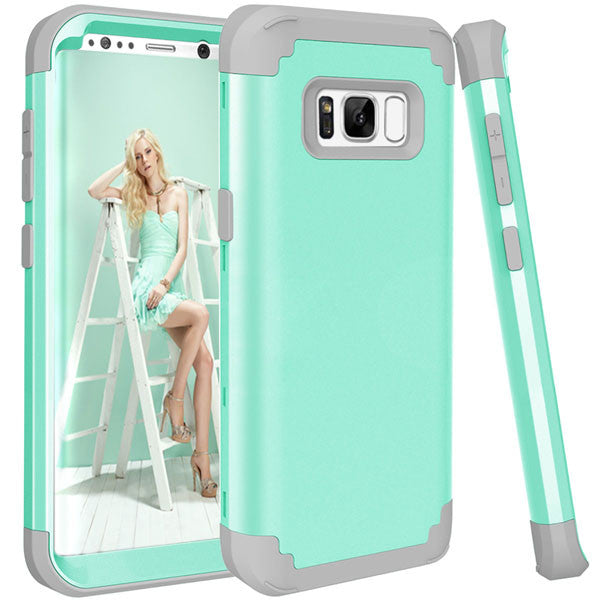 Shockproof Full Body Protective Cover Phone Cases For Samsung-Dee SuSu-Green and Gray-For Galaxy S8-Dee SuSu
