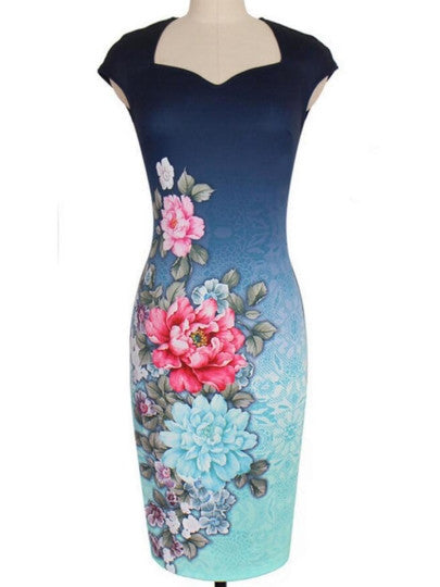 Square Neck Cap Sleeve Flower Pencil Dress
