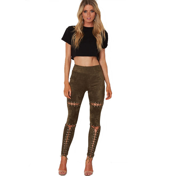 Sexy Tight Ripped Destroy Pants-Dee SuSu-Army Green-L-Dee SuSu