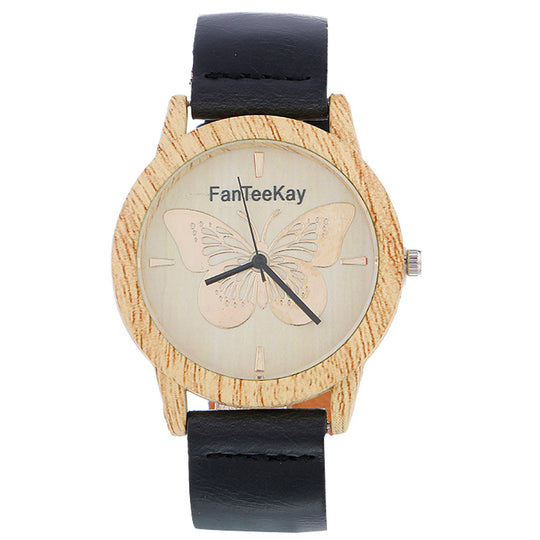 Women Whit Wood Analog Quartz Leather Band Wrist Watch-Dee SuSu-Black-Dee SuSu