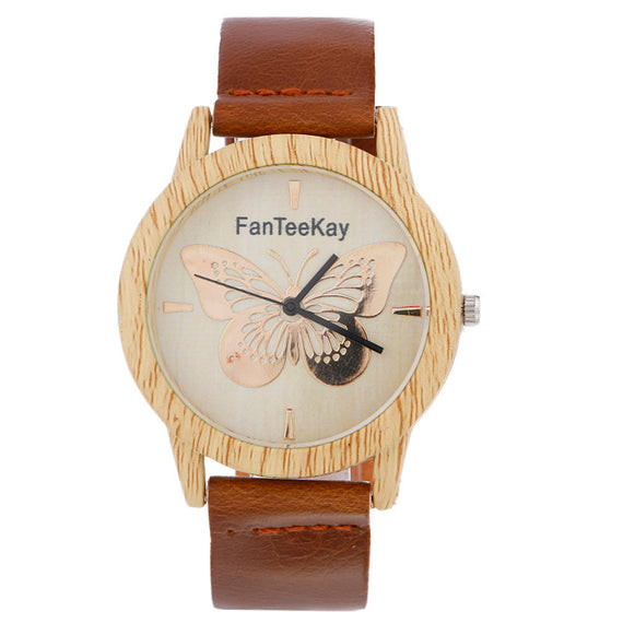 Women Whit Wood Analog Quartz Leather Band Wrist Watch-Dee SuSu-Coffee-Dee SuSu