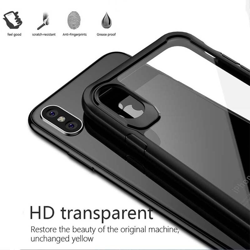 Shockproof Fitted Ultra thin Clear Soft TPU + PC Back Cover For iPhone-Dee SuSu-Dee SuSu