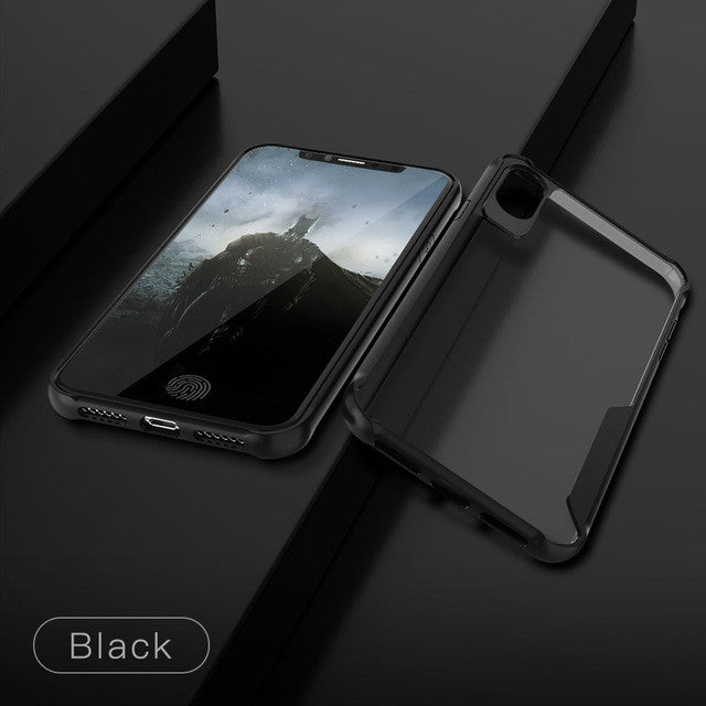 Shockproof Fitted Ultra thin Clear Soft TPU + PC Back Cover For iPhone-Dee SuSu-Black-For iphone X-Dee SuSu